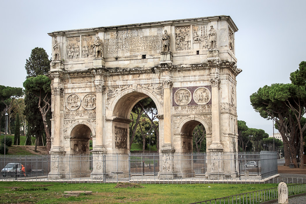 arch of constantine The arch of constantine stands 21 meters high with a width of about 26 meters it consists of a large main arch at the center and smaller identical arcs on both sides the arch of constantine is located between the colosseum and the palantine hill.